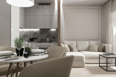 Дизайн интерьера кухни-гостиной 18,4 кв.м. г. Екатеринбург