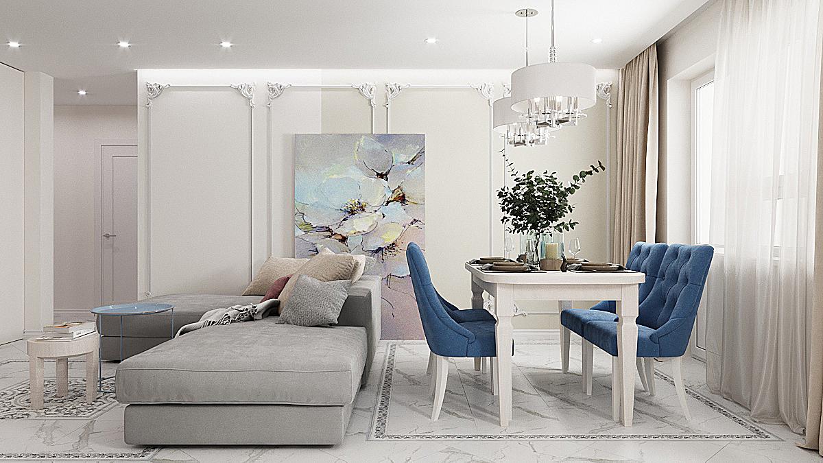 Дизайн интерьера трехкомнатной квартиры по ул. Родонитовая