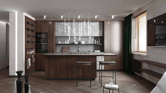Интерьер кухни-гостиной, дизайн-проект
