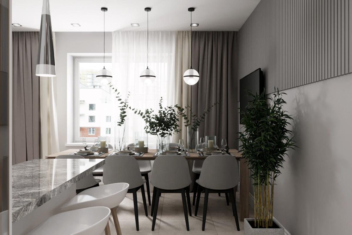 Дизайн интерьера трехкомнатной квартиры бул. Золотистый