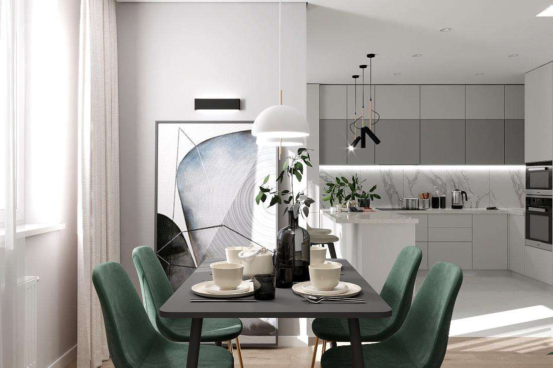 Дизайн интерьера трехкомнатной квартиры по ул. Краснолесья